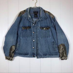 Vintage XL denim jacket camouflage